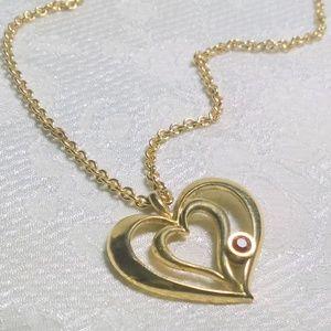 Vintage Avon Open Heart Birthstone Necklace July